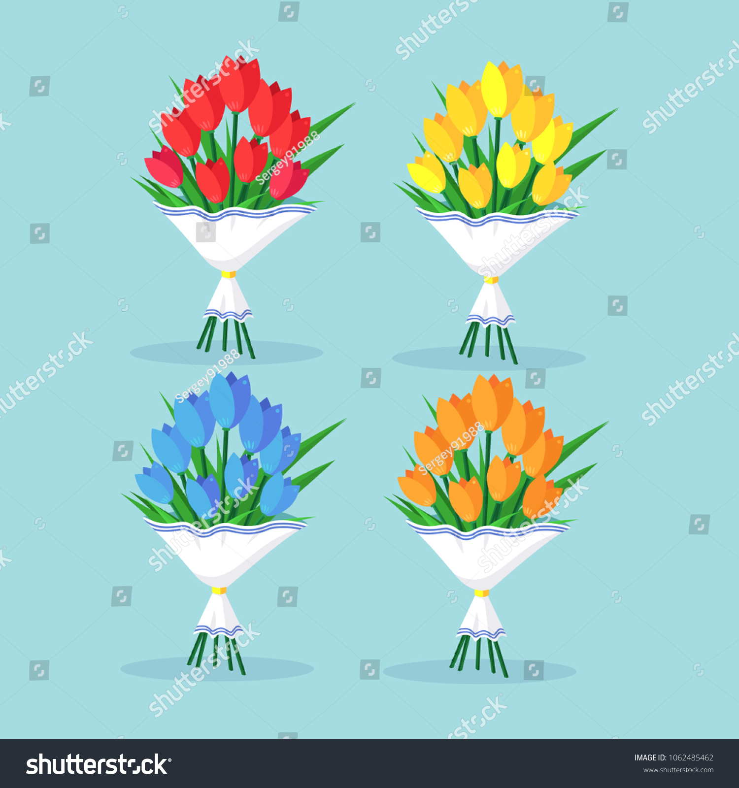 Bouquet Set Red Tulip Roses Bunch Stock Vector Royalty Free
