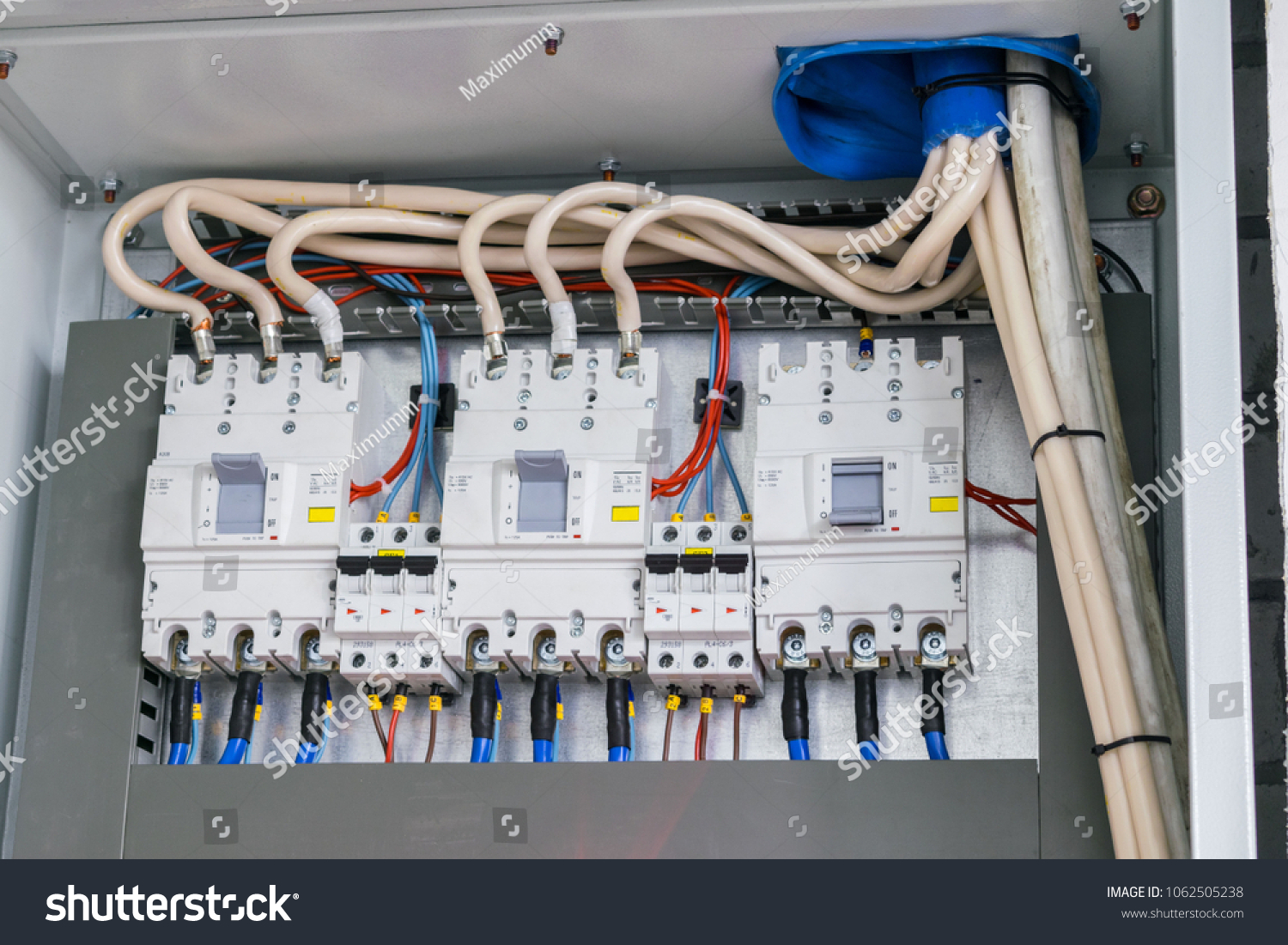 Powerful Automatic Switches Fuse Box Stock Photo Edit Now Electrical And Boxes Are In The