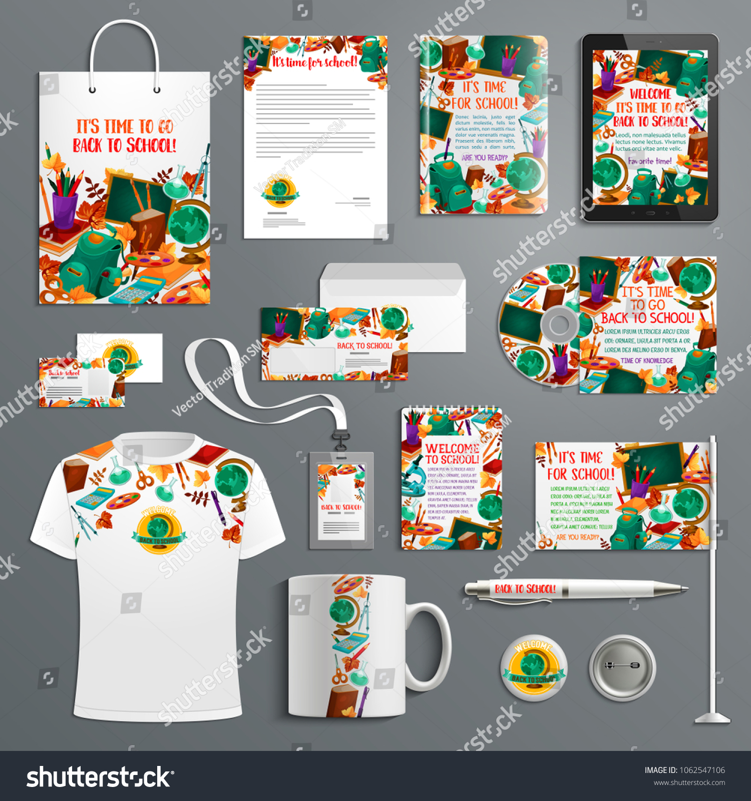 Back School Branded Stationery Education Promo Stock Vector Royalty