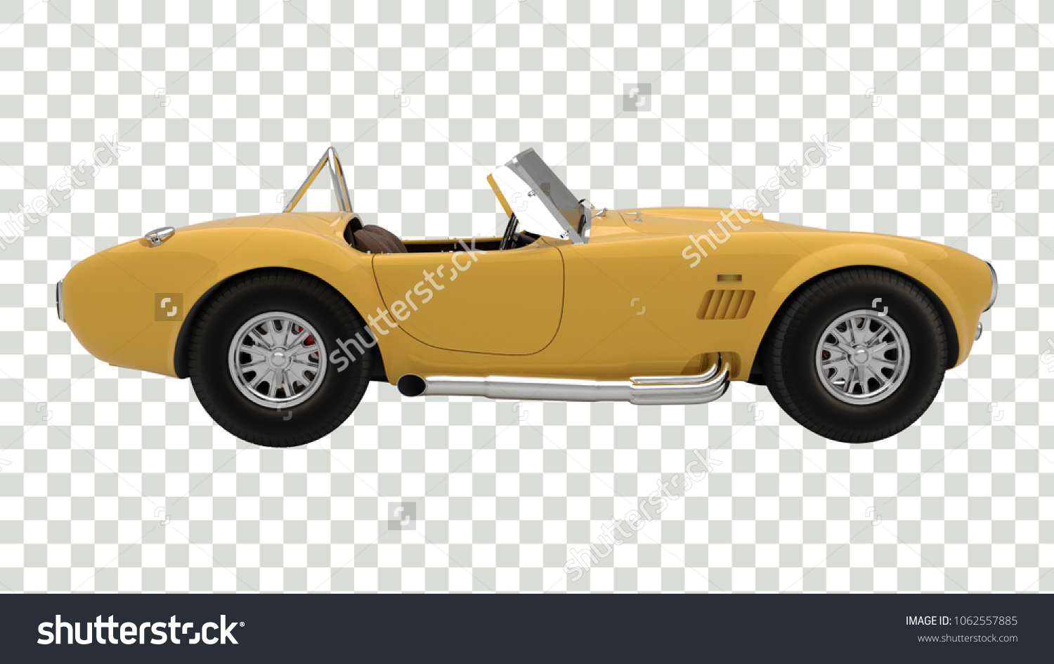 Beautiful Yellow Antique Sports Car Transparent Stock Illustration