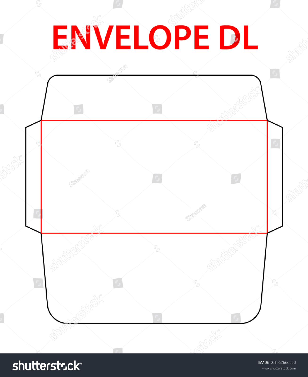 Envelope DLE 65 Size Die Cut Template Stock Vector (Royalty Free ...