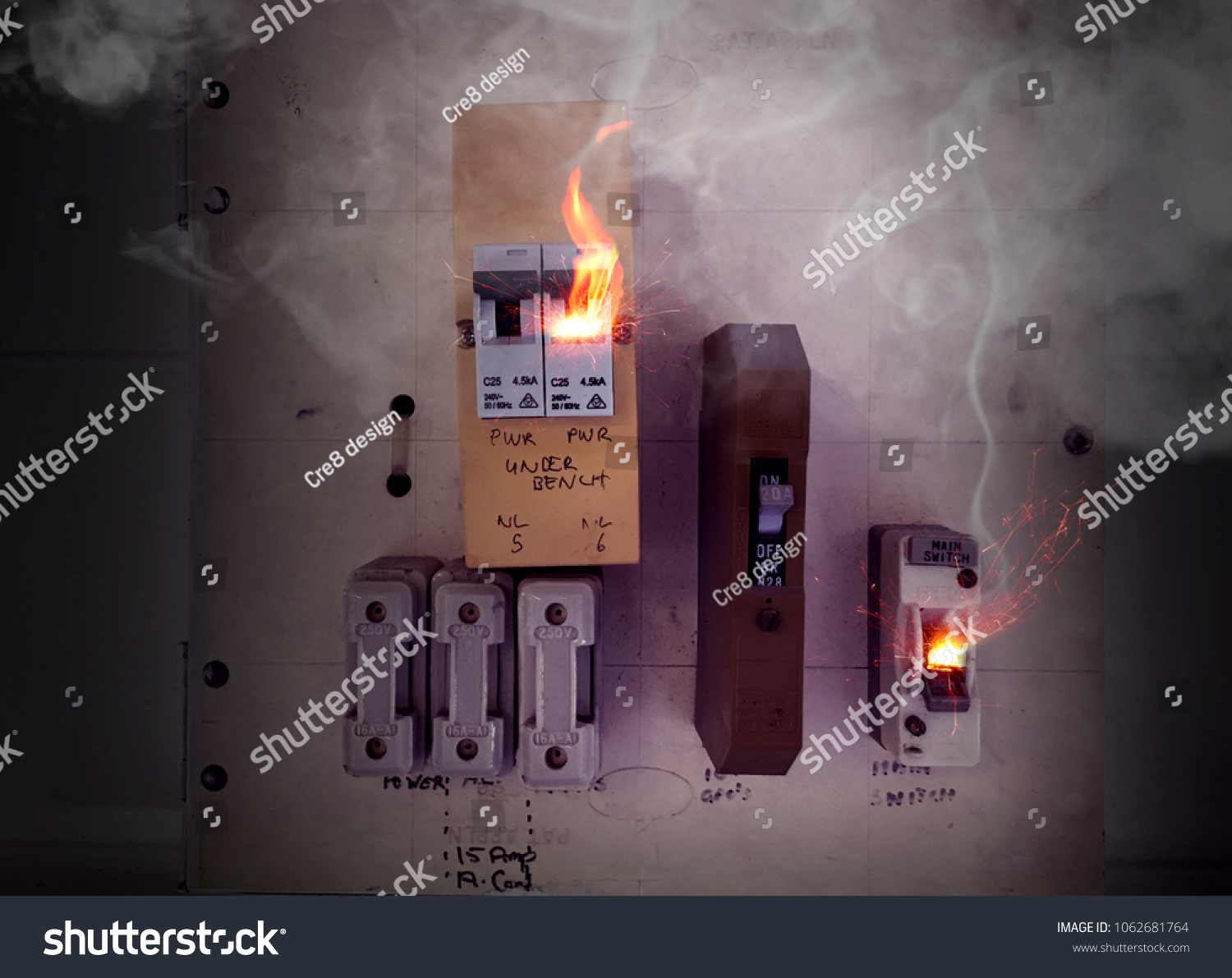 Sparks Flames Smoke Burning Overloaded Circuit Stock Photo Edit Now Power Fuse Box City And From A Breaker On Master With In