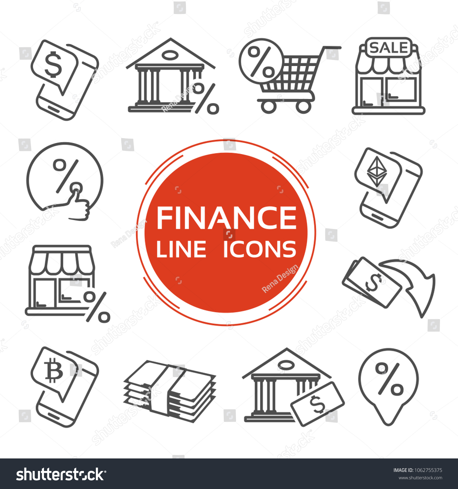 Vector Finance Line Icons Currency Dollar Stock Vector 1062755375