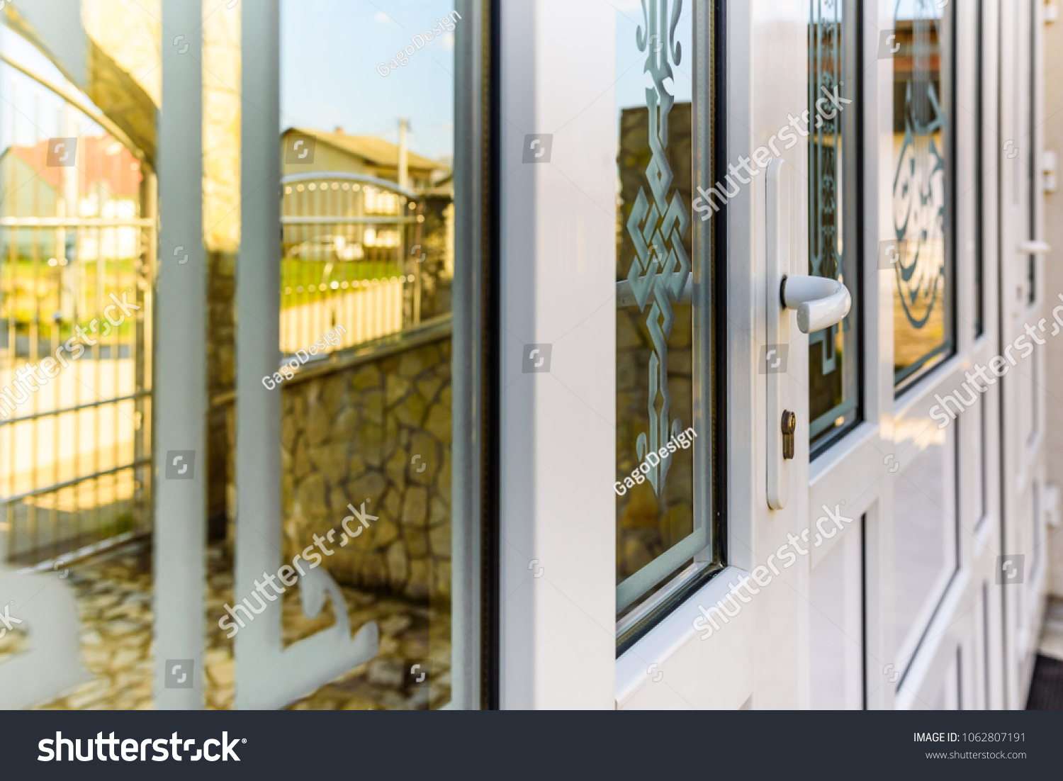 Front Door Pvc Glass Stock Photo Edit Now 1062807191 Shutterstock