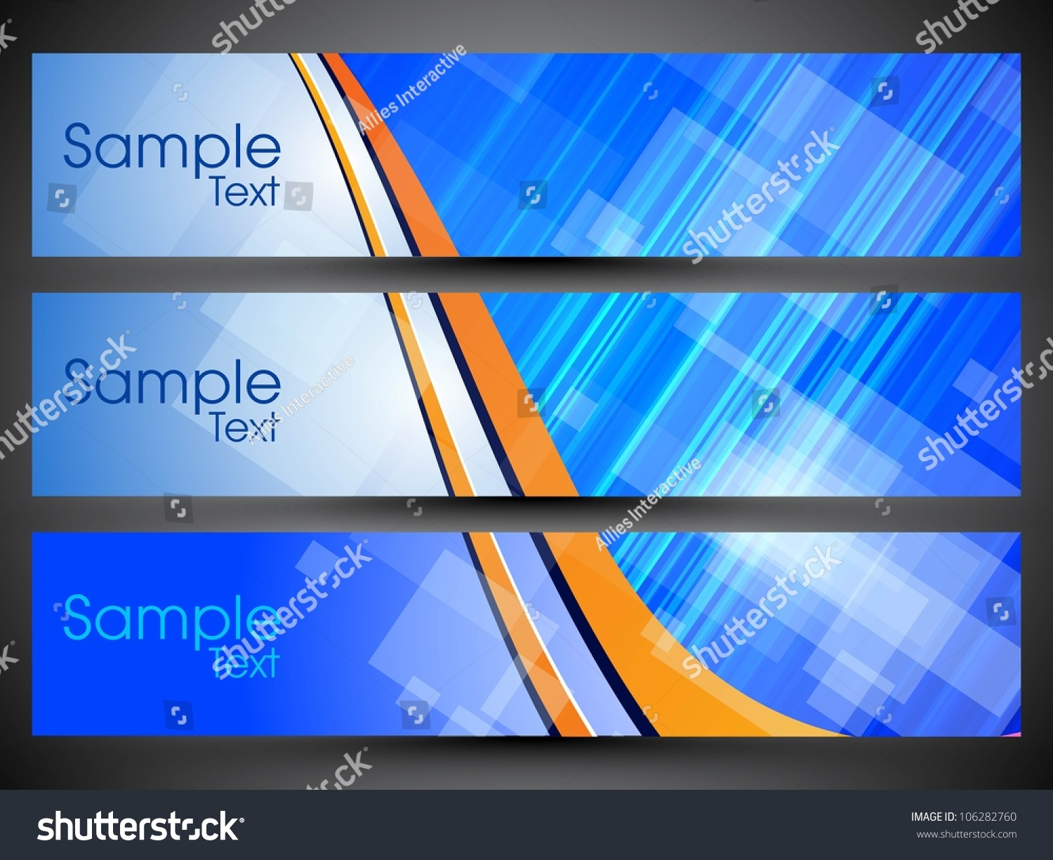 Website Header Or Banner Set With Colorful Background, Can