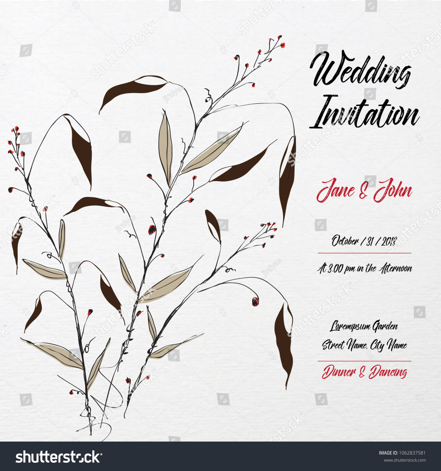 Hand drawn wedding invitation card template stock vector 1062837581 hand drawn wedding invitation card template with floral leaf japanese style 2 stopboris Images