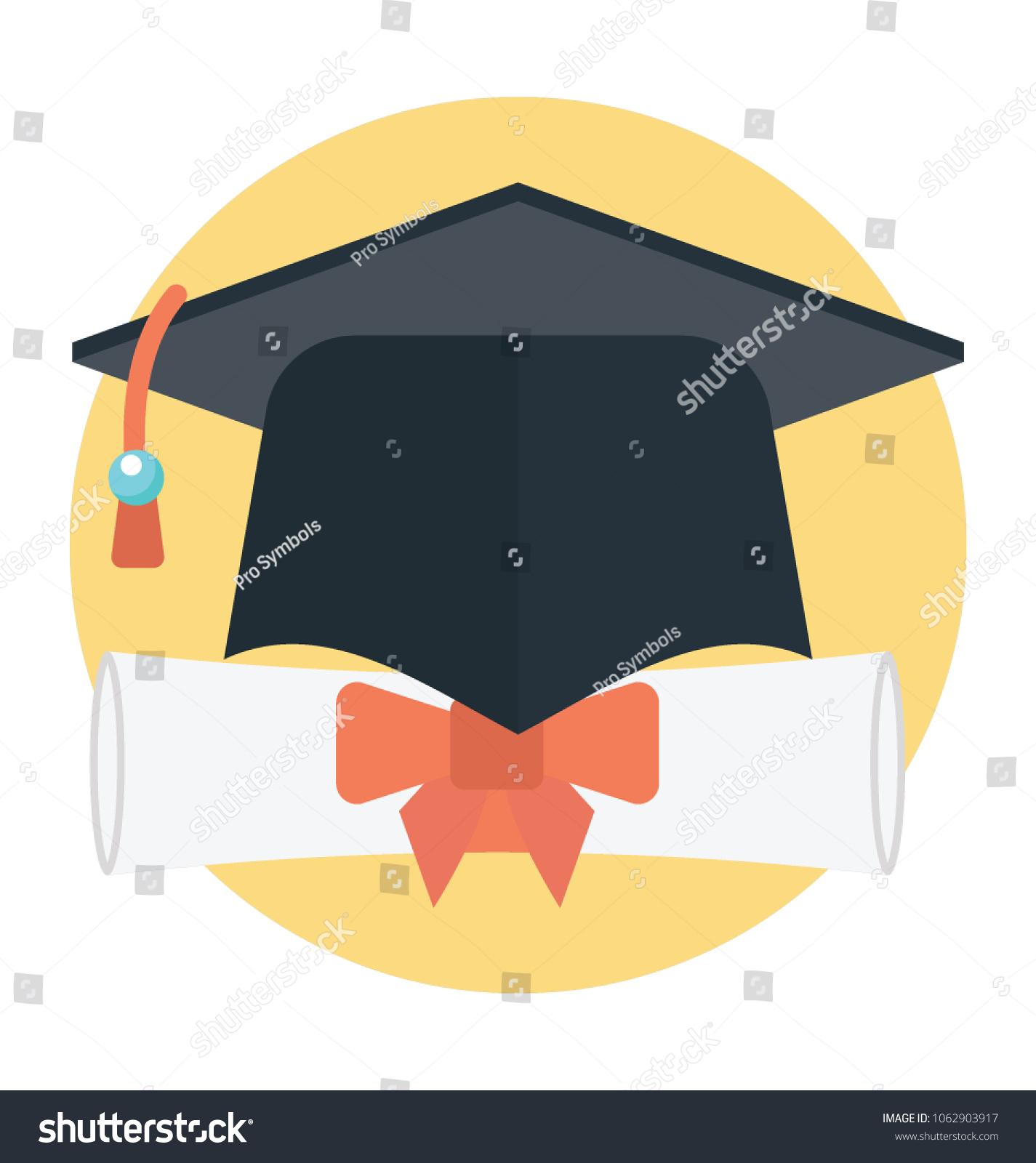 Graduation Cap Diploma Icon Flat Symbol Stock Vector Royalty Free