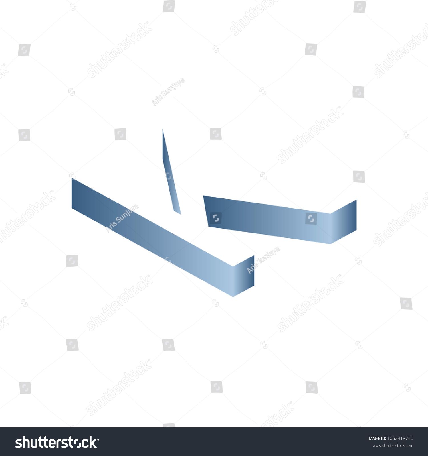 letter k block shadow logo with blue gradient colors