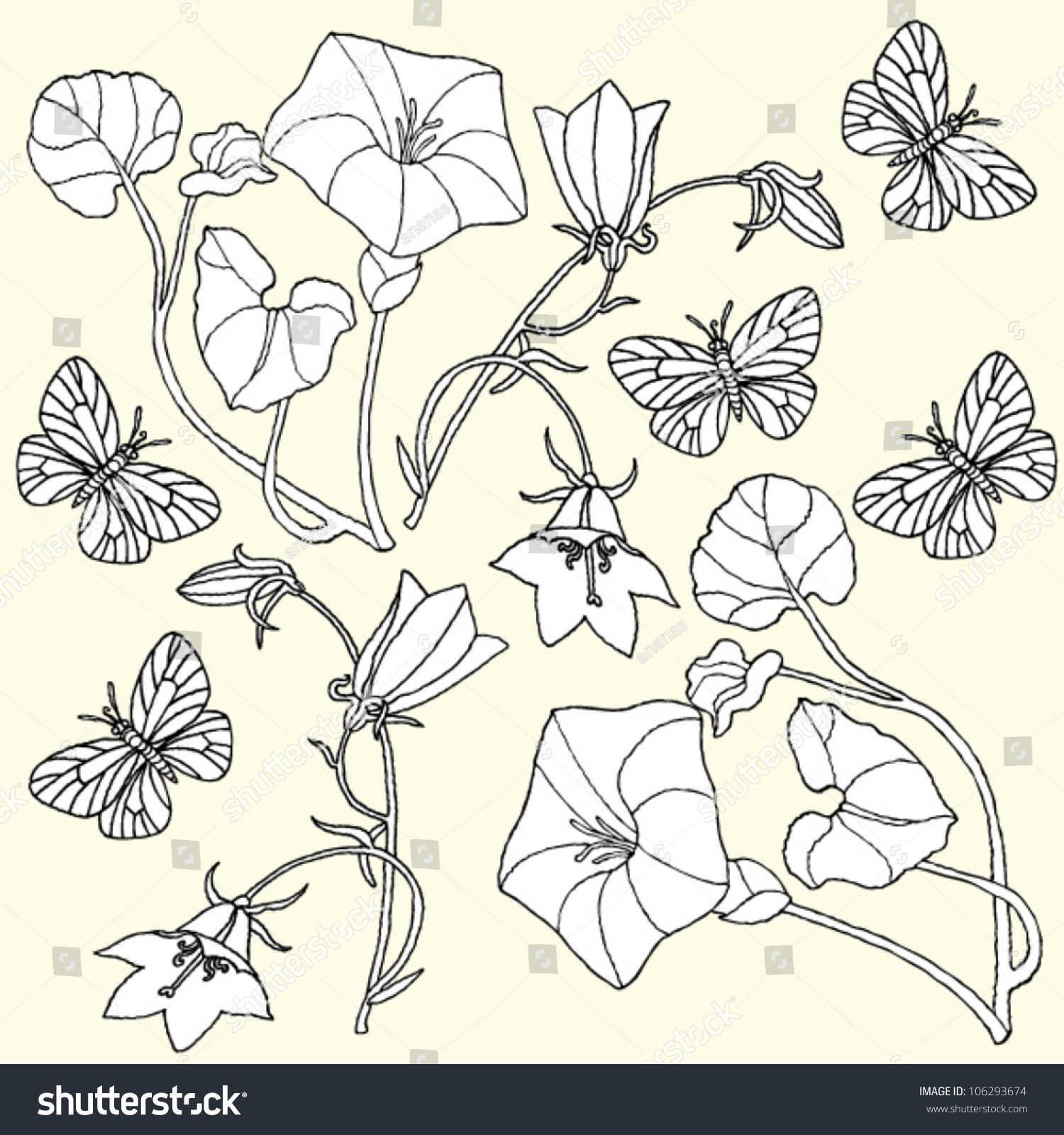 flowers butterflies drawing stock vector 106293674 shutterstock