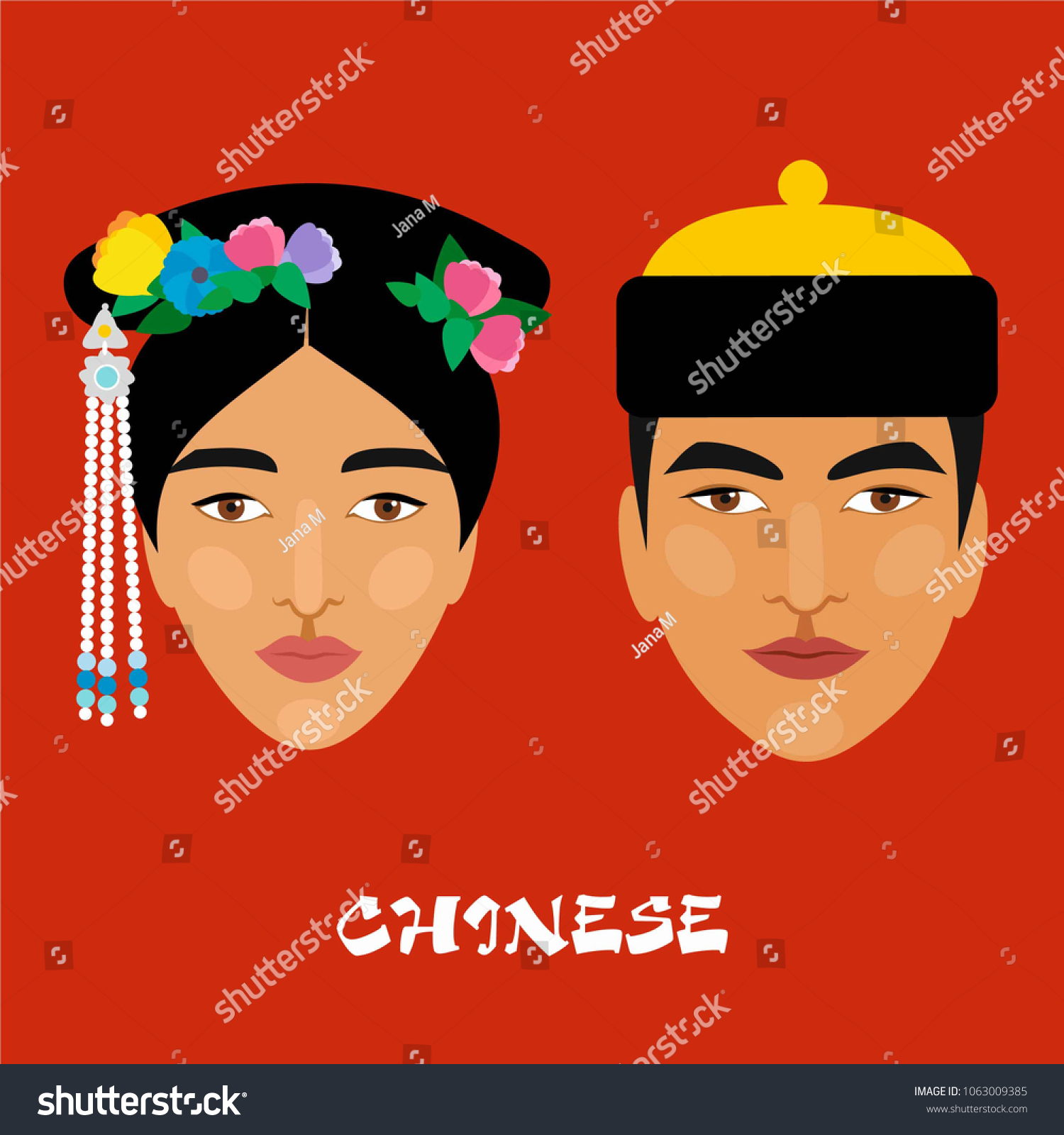 Native people of China. Portrait of a man and a woman. Vector drawing.