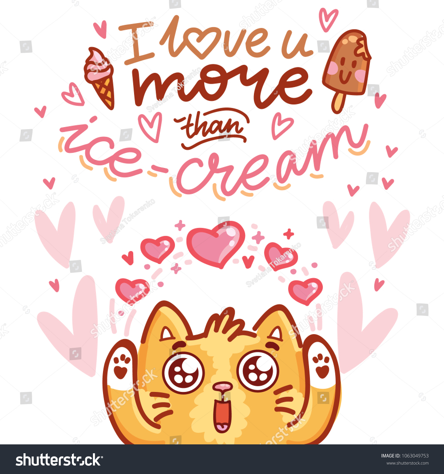 Cute Cat Character Love Hearts Googly Stock Vector 1063049753