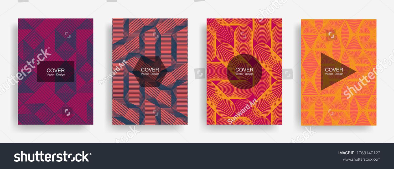 halftone shapes minimal geometric cover templates のベクター画像