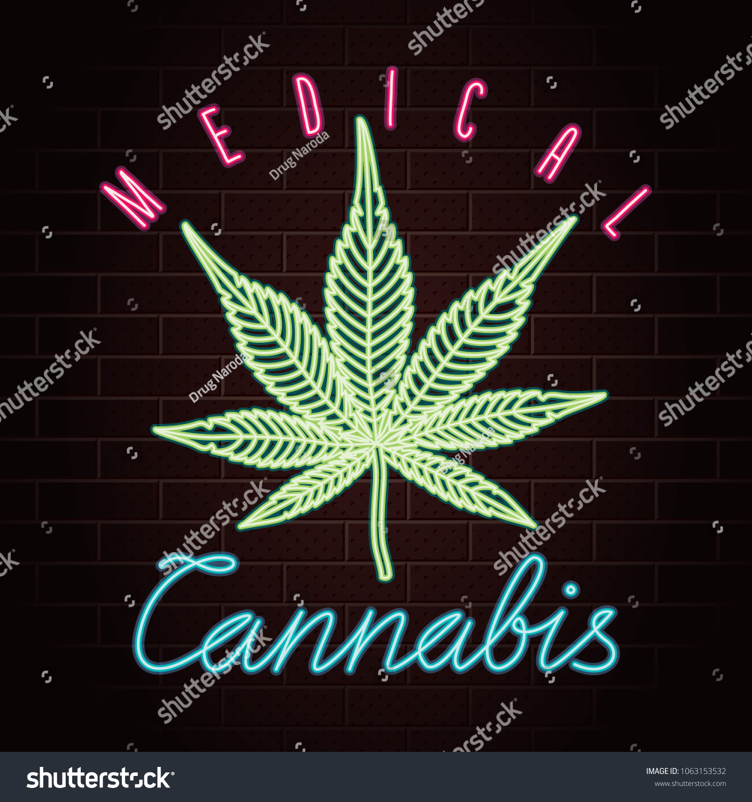 Medical Cannabis Logo Lettering Marijuana Leaf Stock Vector Royalty