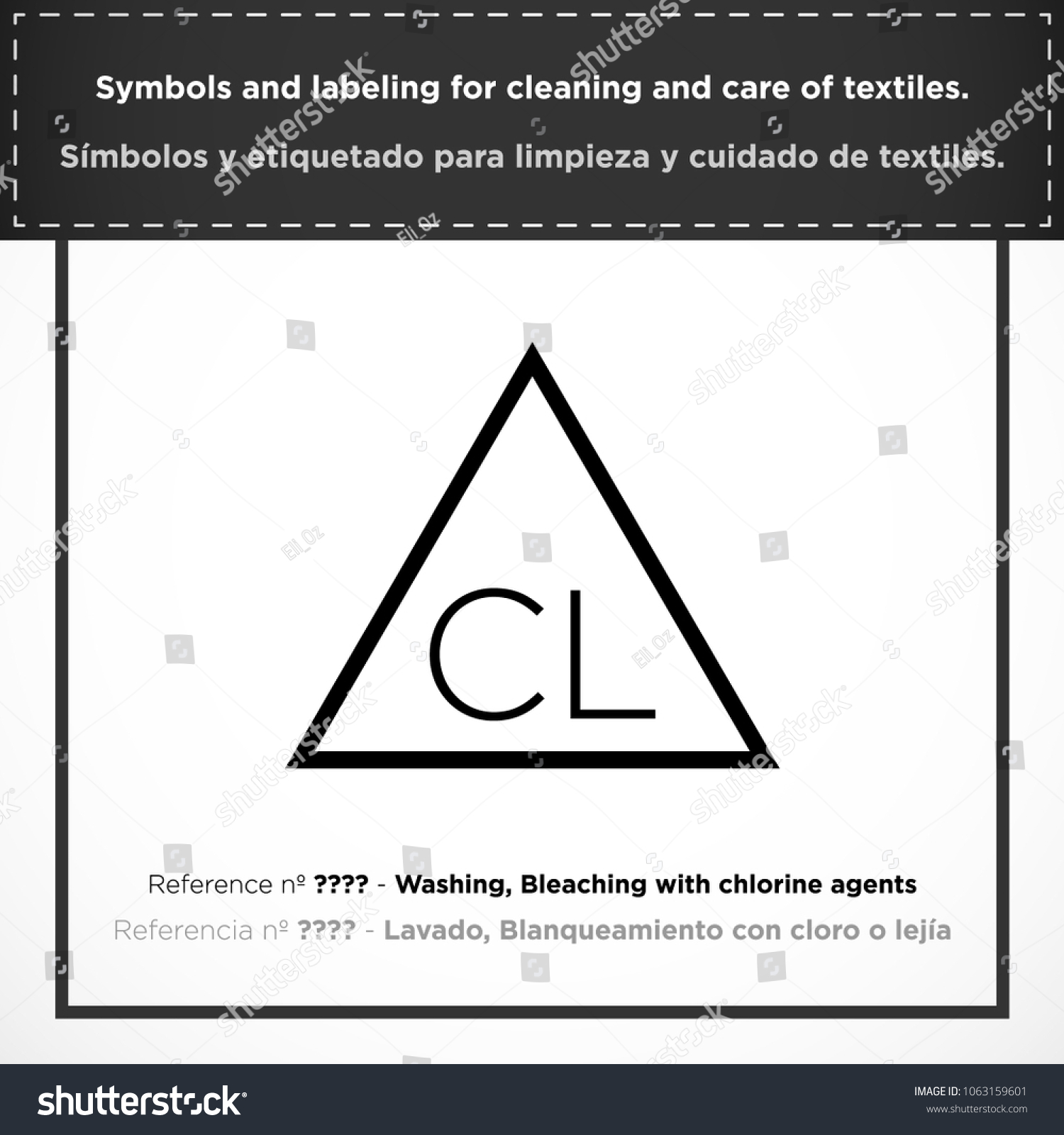 Washing Bleaching Chlorine Agents Pictorial Symbols Stock Vector