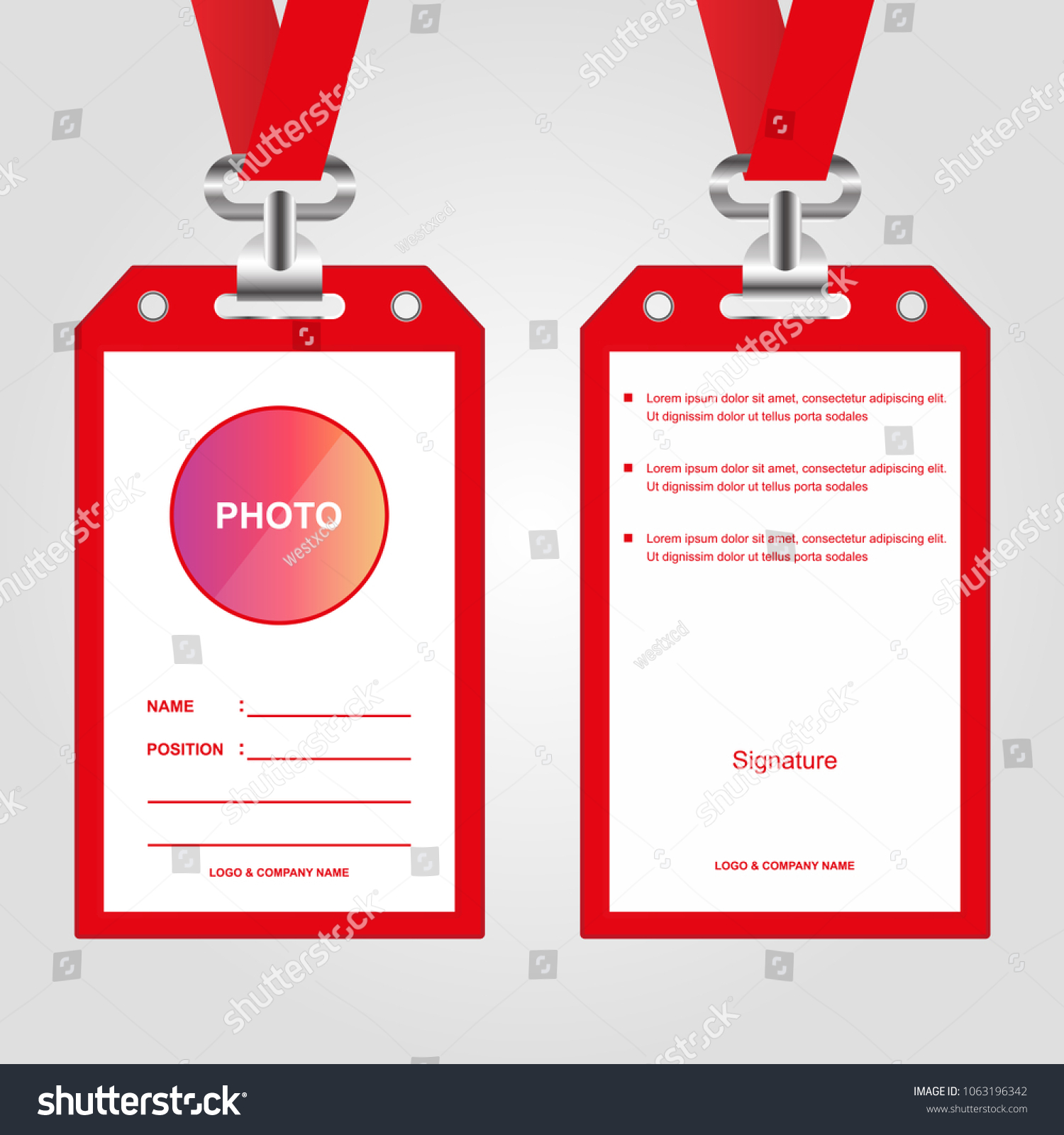 id card employeeeventpartyidentificationbusiness company vector