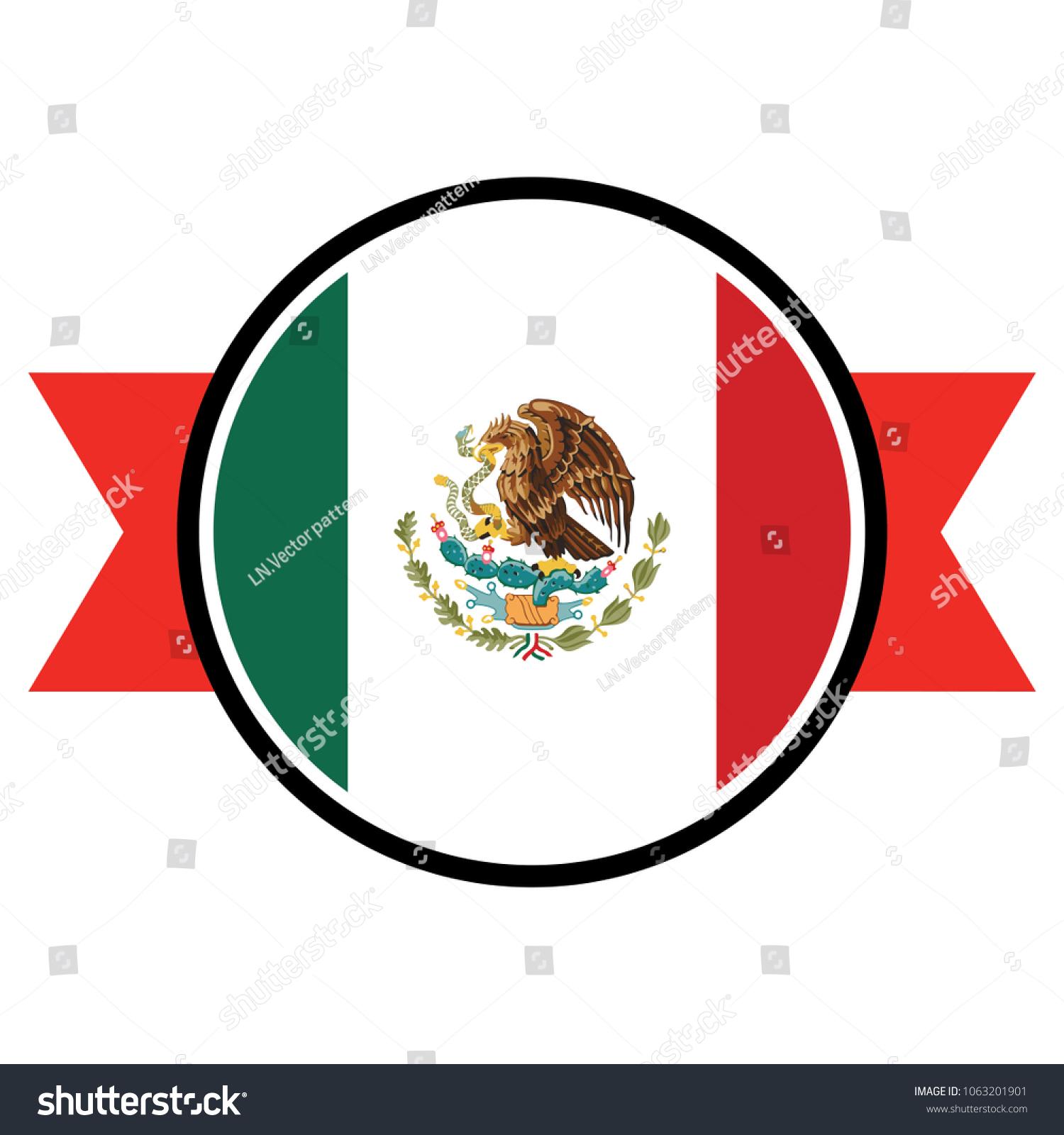 Mexico Flag Round Button Icon Flag Stock Vector 1063201901