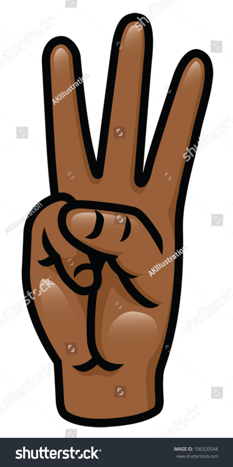 Cartoon Characters 3 Fingers : Illustration of a cartoon hand holding up three fingers