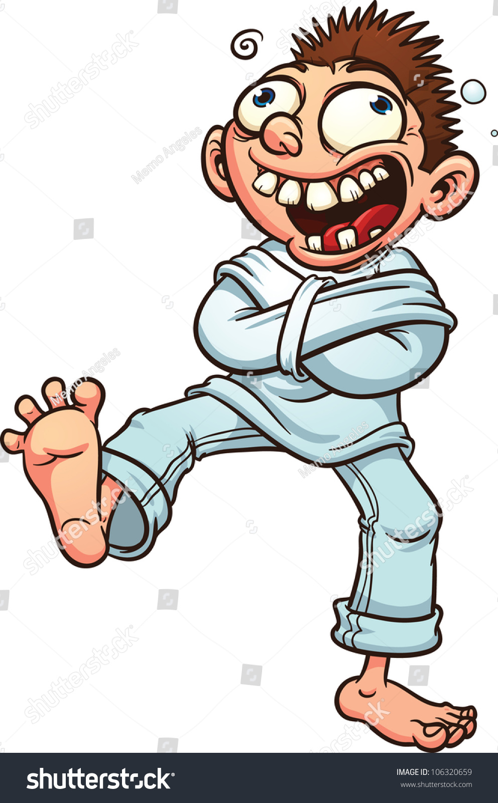 Crazy Cartoon Guy Straight Jacket Vector Stock Vector 106320659