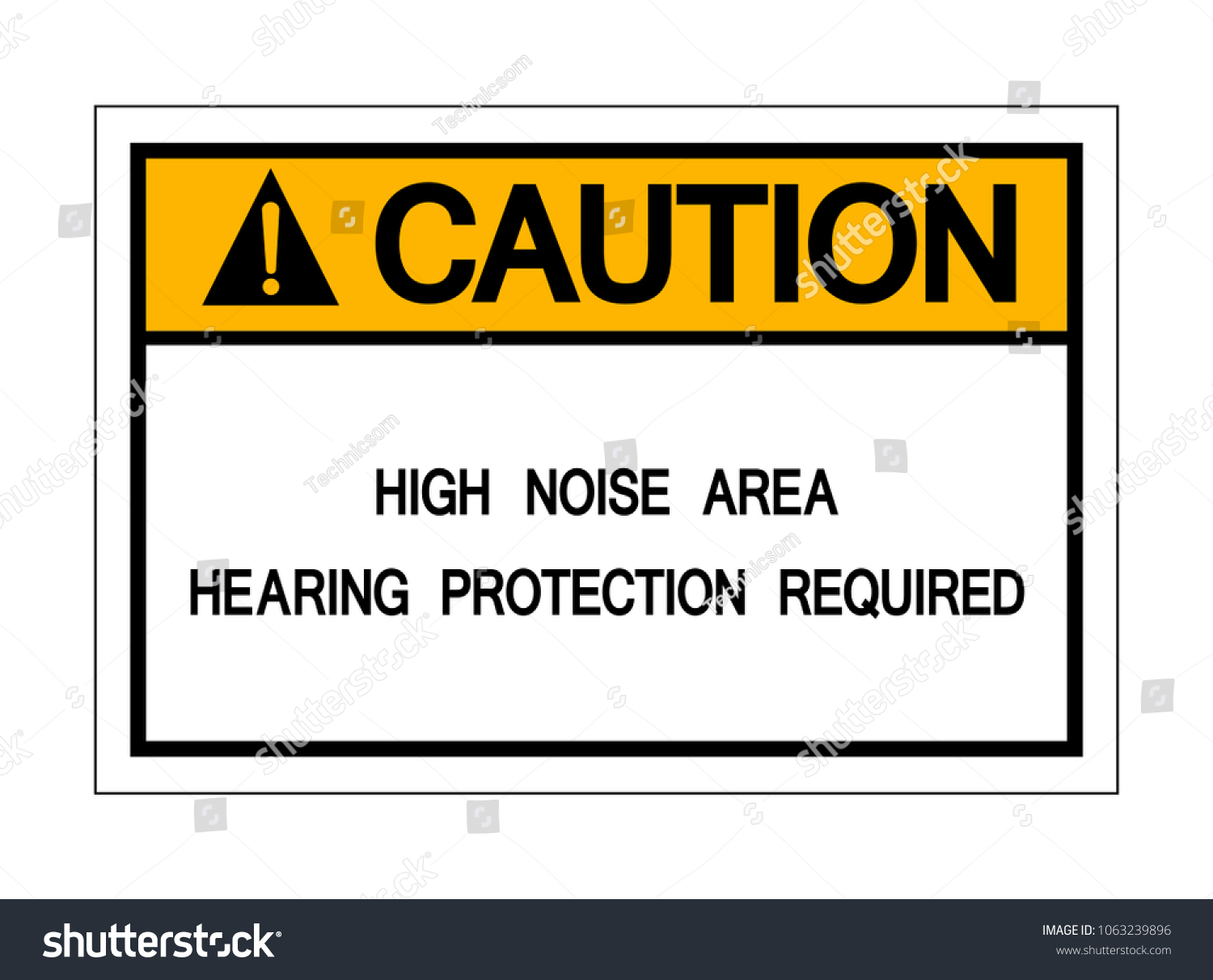 Caution High Noise Area Hearing Protection Stock Vector 1063239896