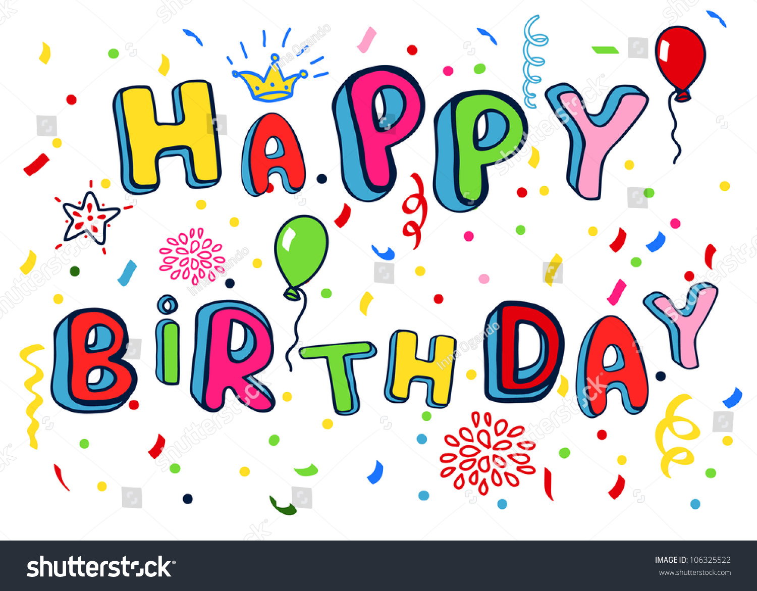 happy birthday poster rainbow color letters