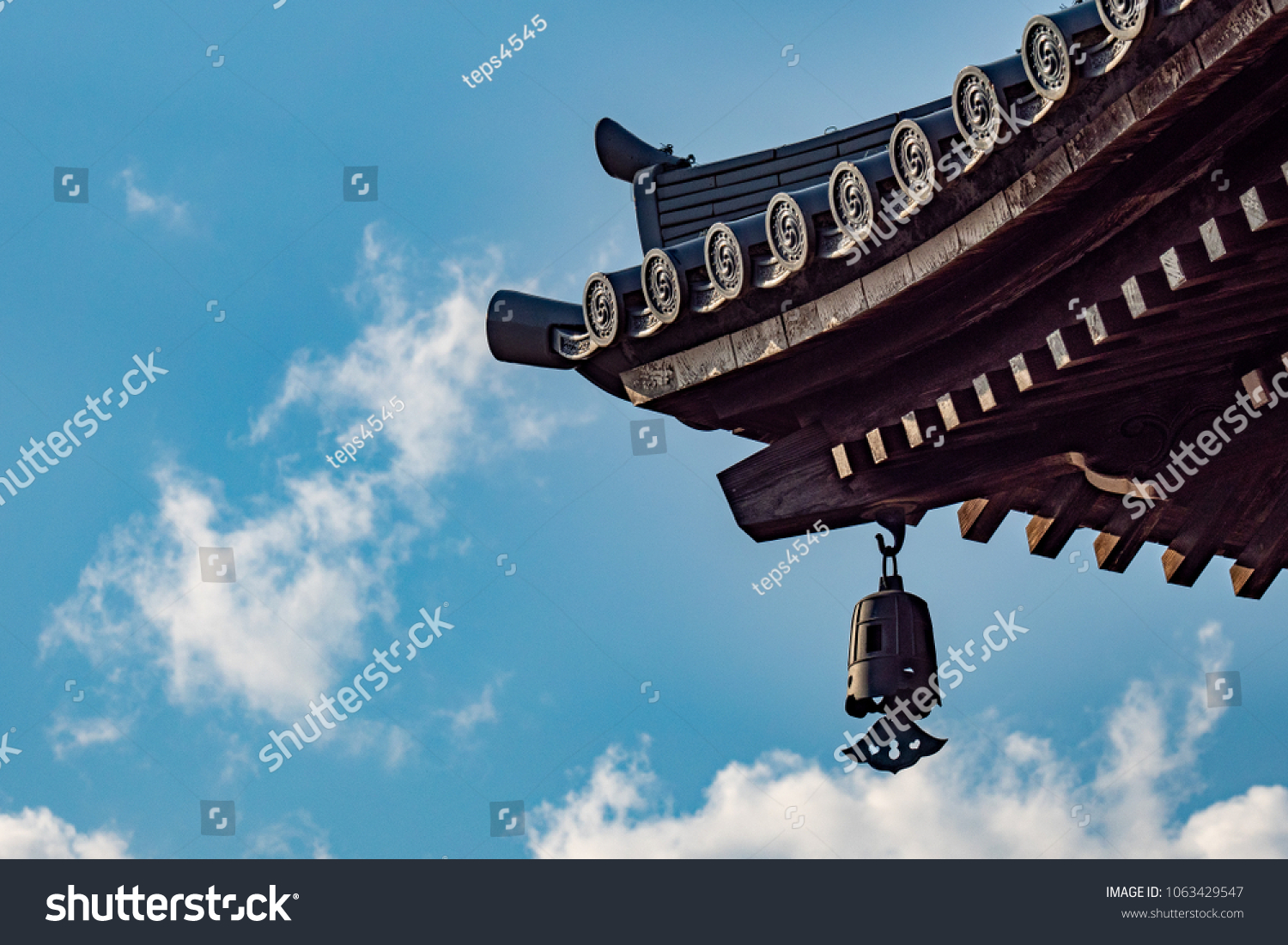 Japanese Temple Roof Design Buildings Landmarks Stock Image 1063429547