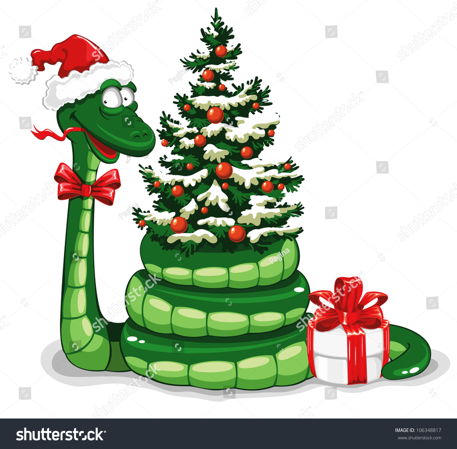 cute snake symbol 2013 year santas stock vector 106348817