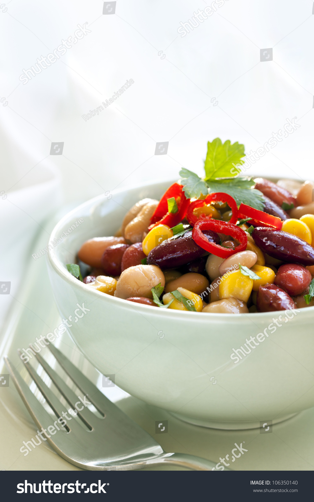 Bean Corn Salad Topped Chili Delicious Stock Photo ...