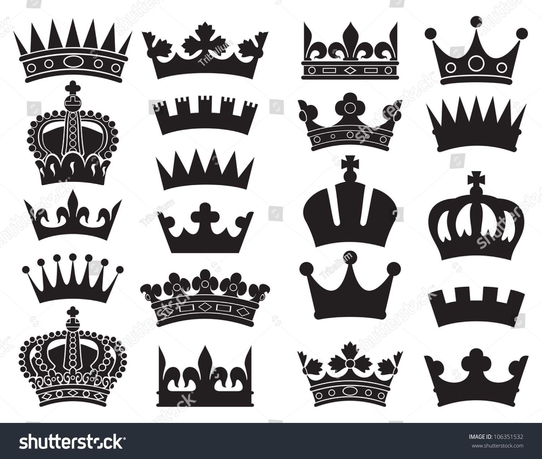 Crown Collection Heraldic Symbols Set Stock Illustration 106351532
