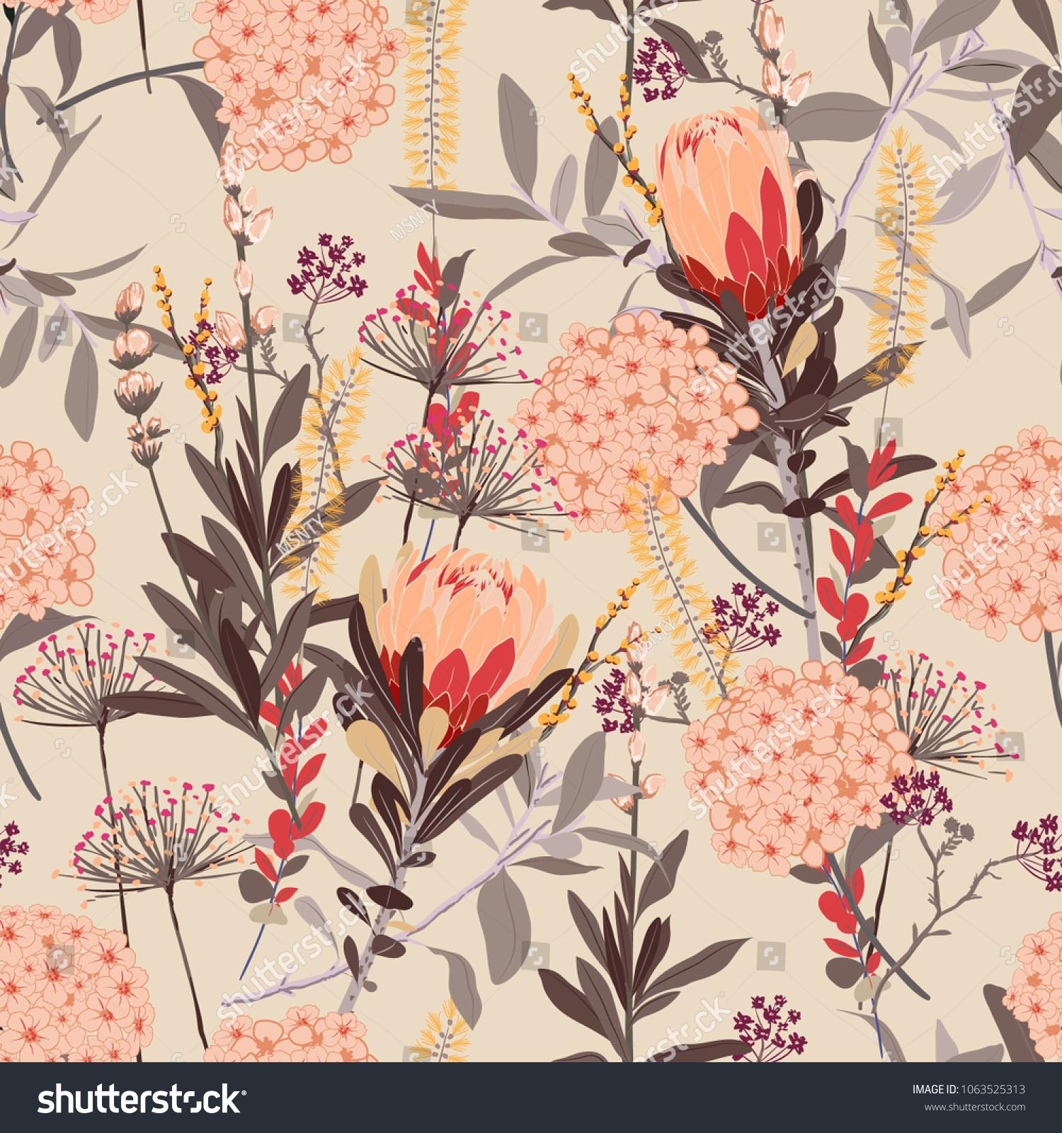 Vintage Floral Pattern Many Kind Flowers Royalty Free Stock Image