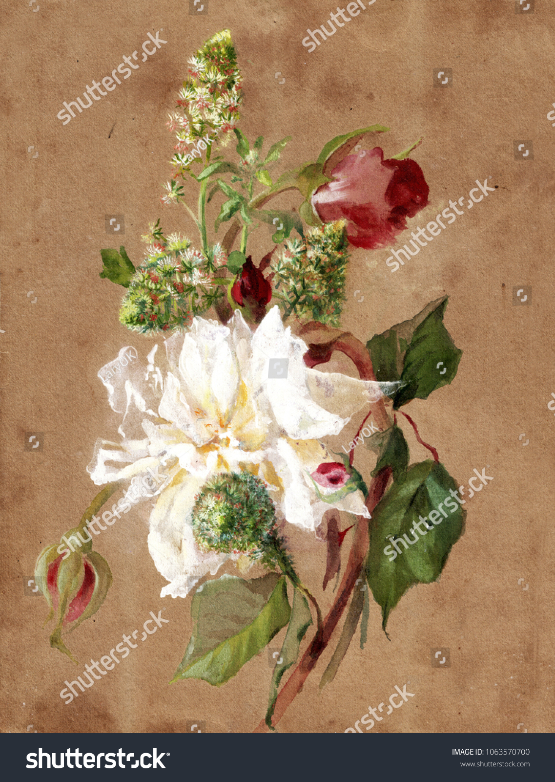 Drawing vintage bouquet flowers stock illustration 1063570700 drawing a vintage bouquet of flowers izmirmasajfo