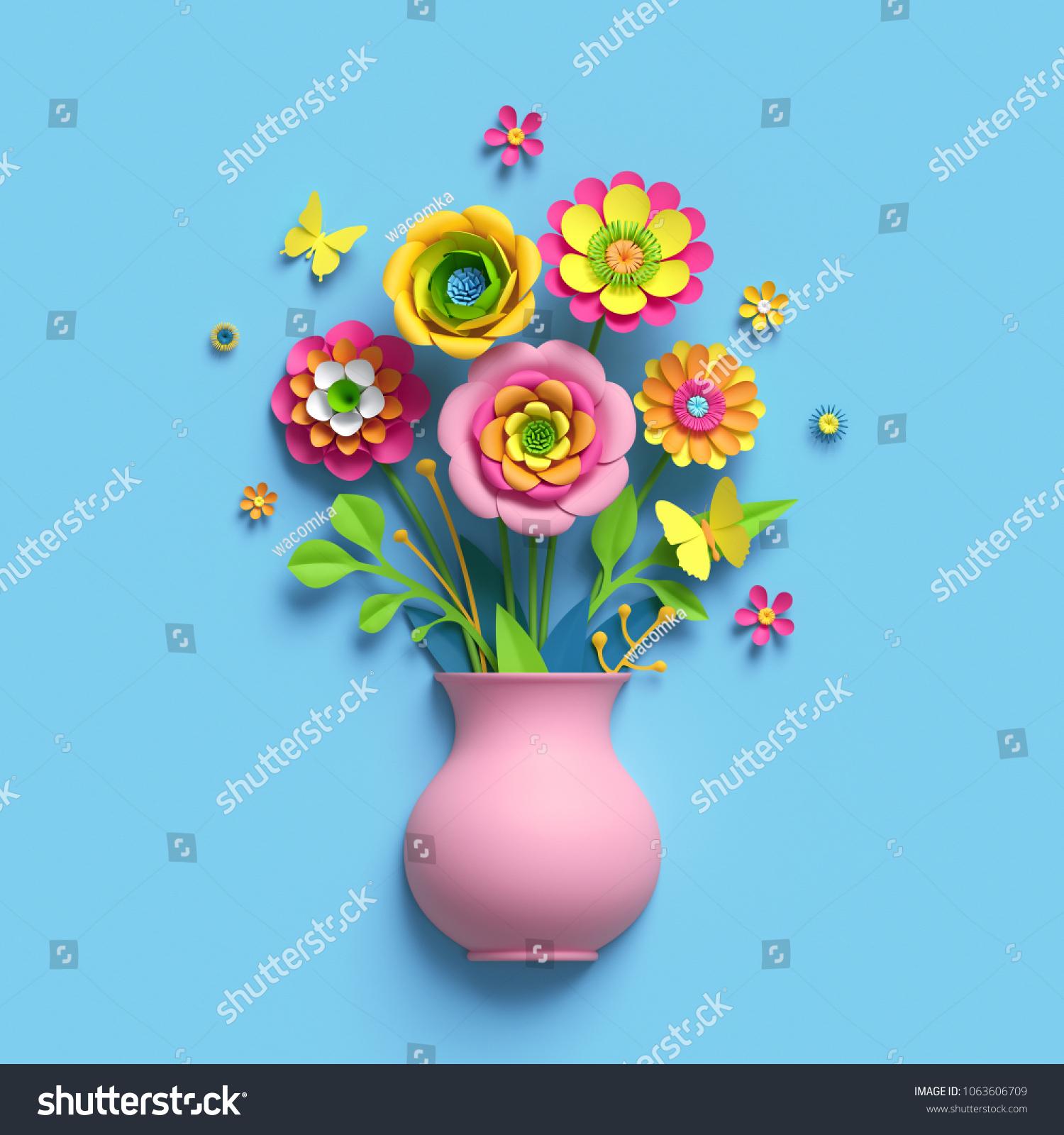 3 D Render Craft Paper Flowers Pink Stock Illustration 1063606709
