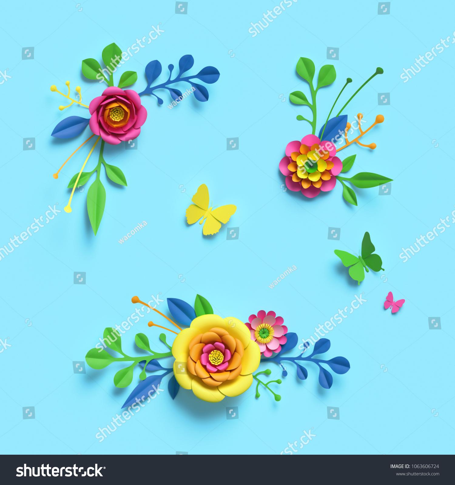 3 D Render Craft Paper Flowers Festive Stock Illustration 1063606724
