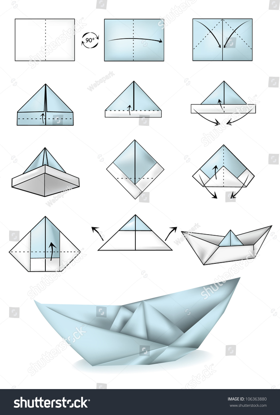 Paper boat instructions illustration tutorial stock vector paper boat instructions illustration tutorial jeuxipadfo Image collections