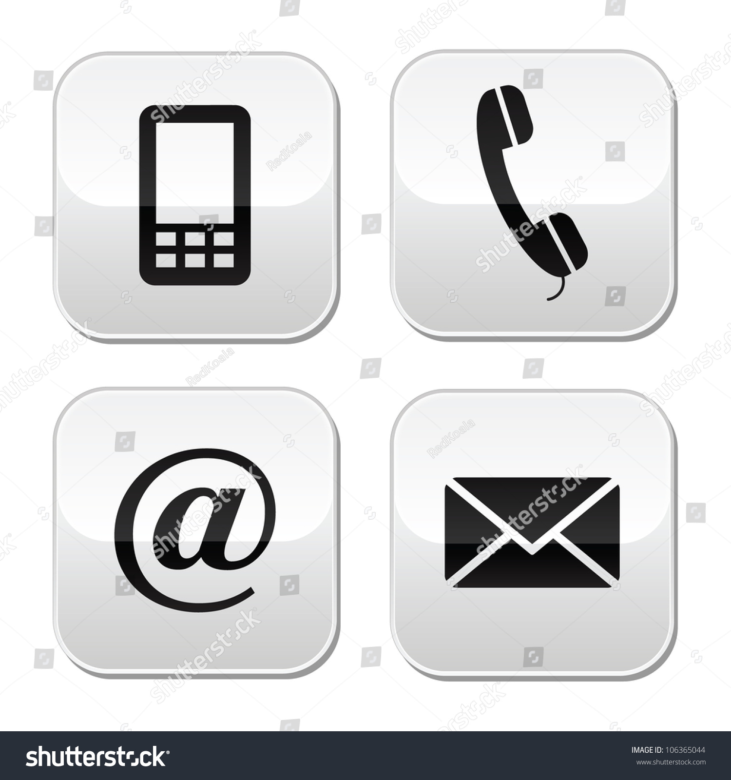 Contact Buttons Set Email Envelope Phone Stock Vector 106365044 ...