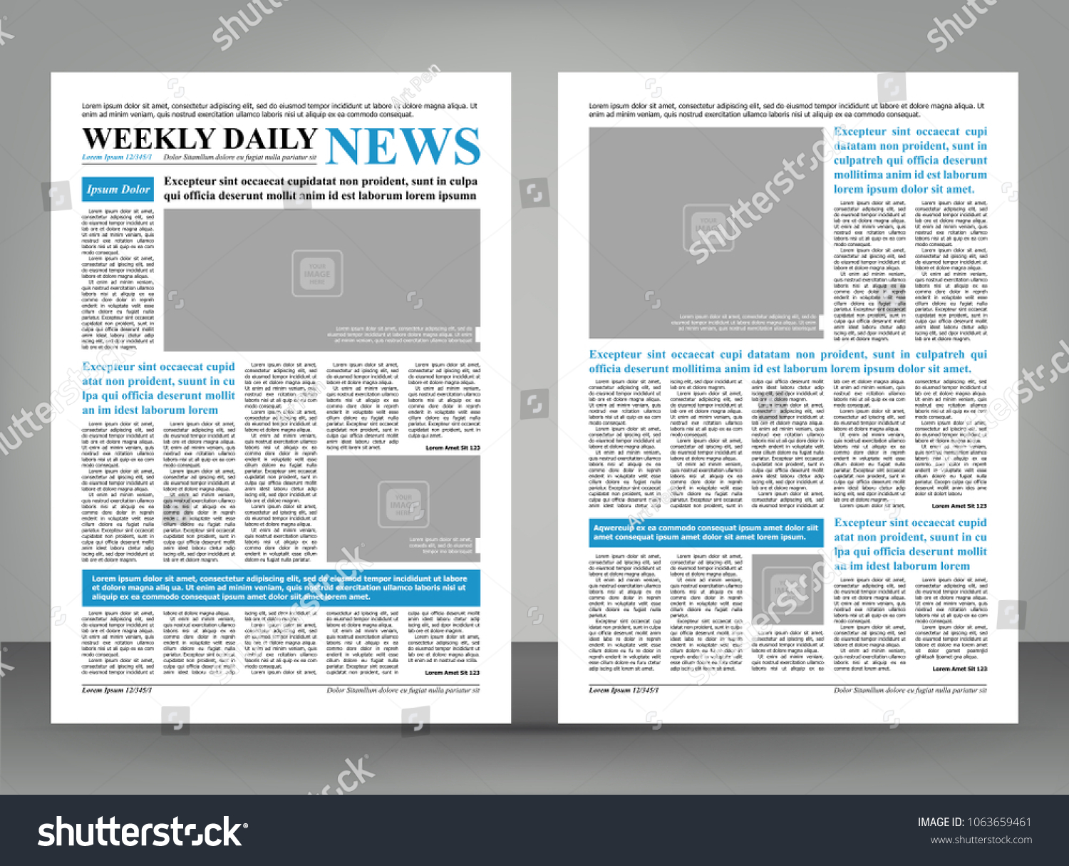 Newspaper Template Layout Print Design Blue Stock Vector Royalty