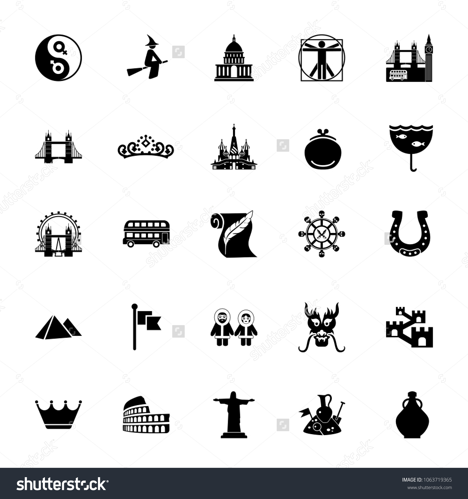 Icon Set European Asian Culture Symbols Stock Vector Royalty Free