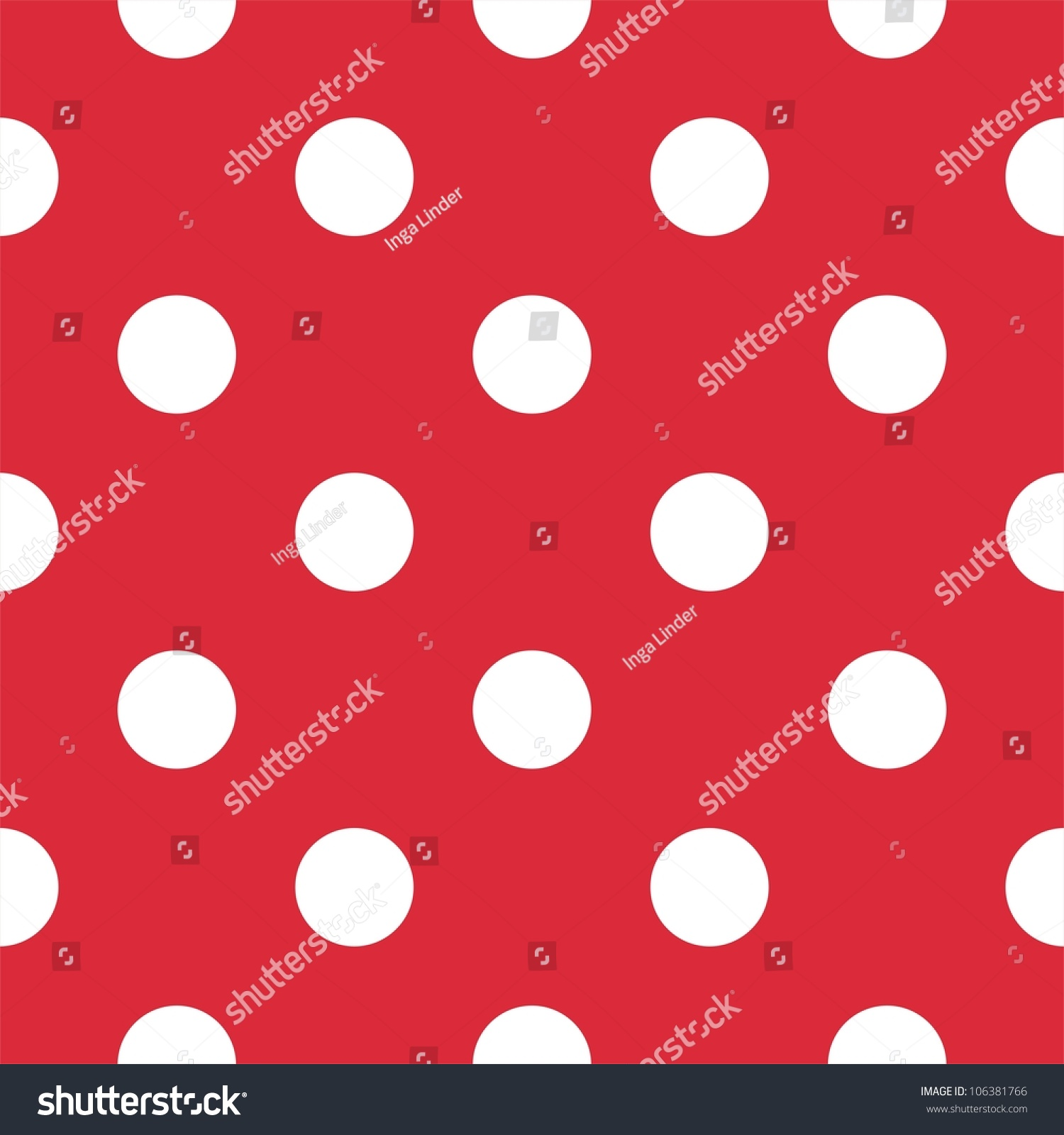Retro Pattern With Big White Polka Dots On Red Background For Decoration Wallpaper