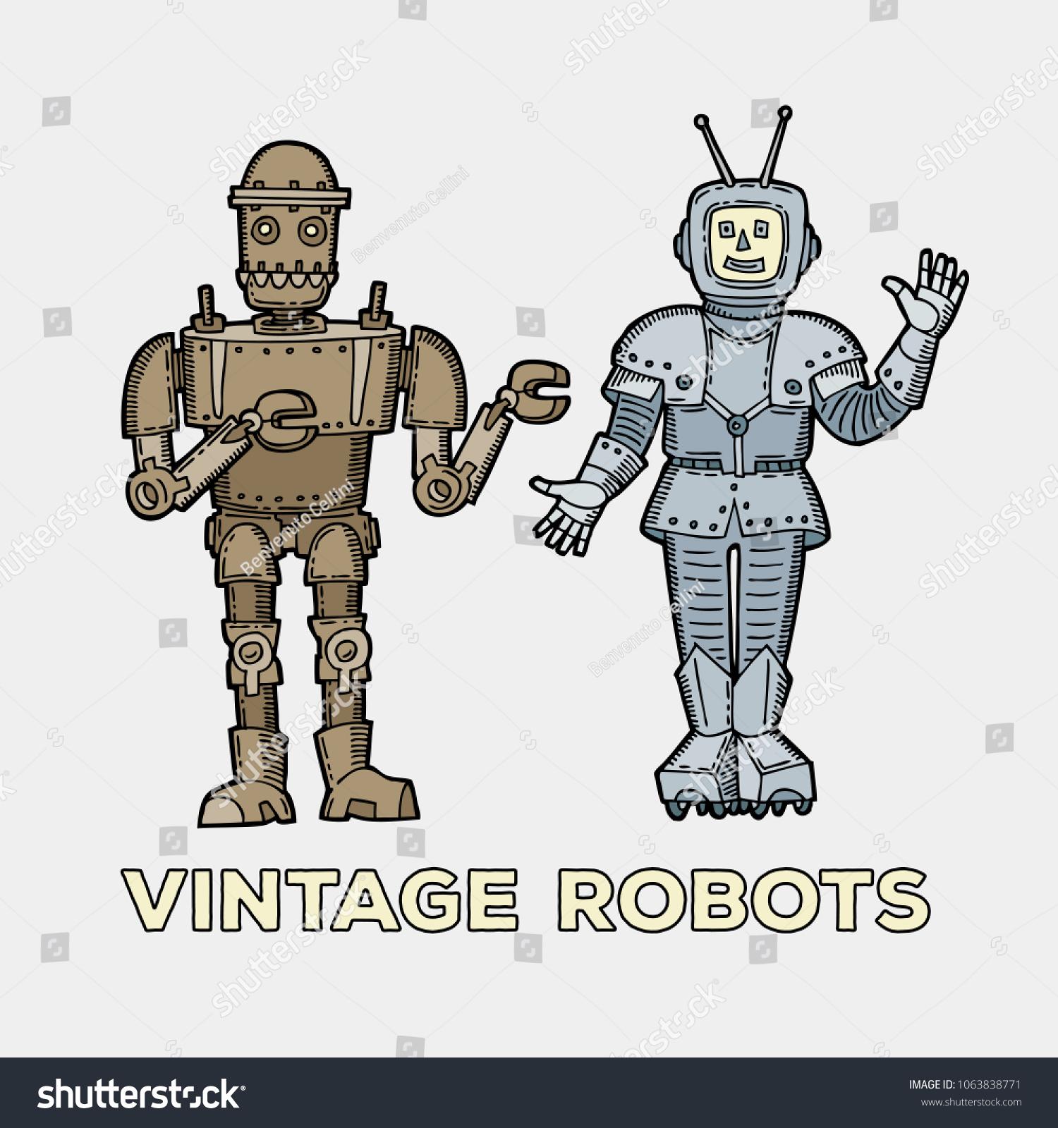Vintage Robots Set Character Retro Robotics Stock Vector Royalty