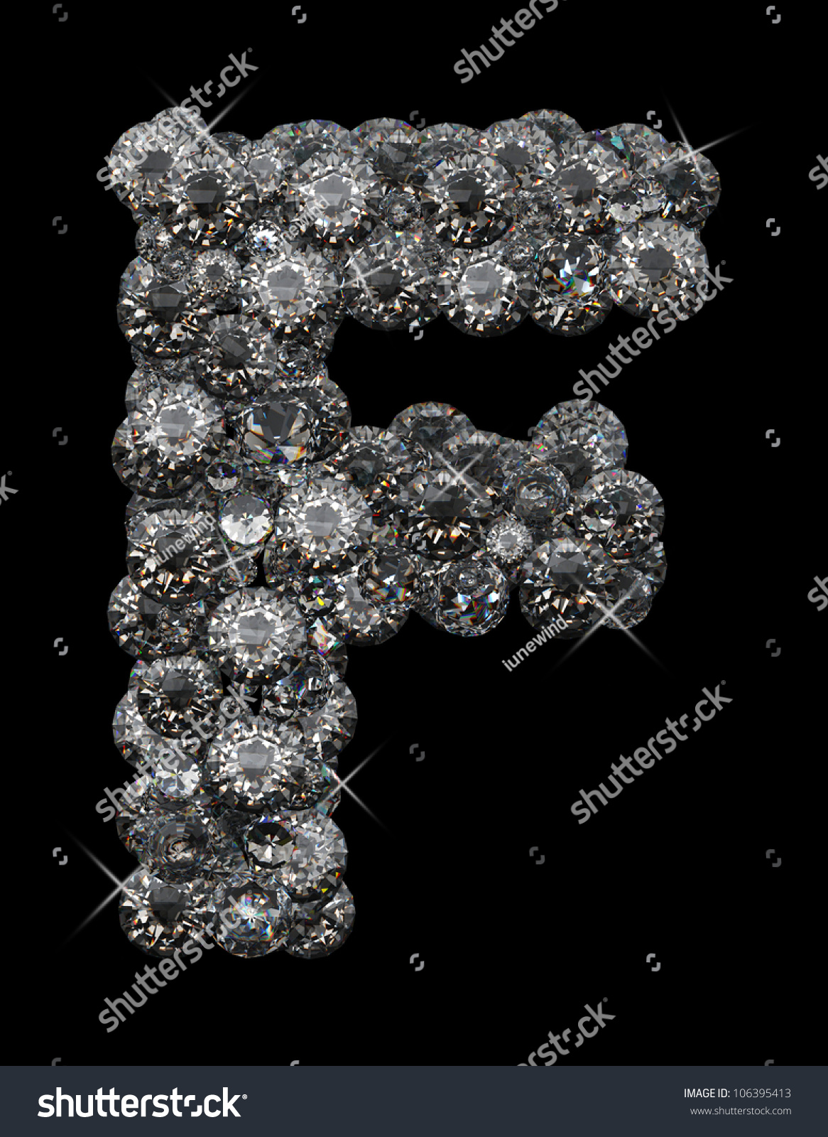 Letter F In Diamonds Stacked Up Stock Photo 106395413 ...