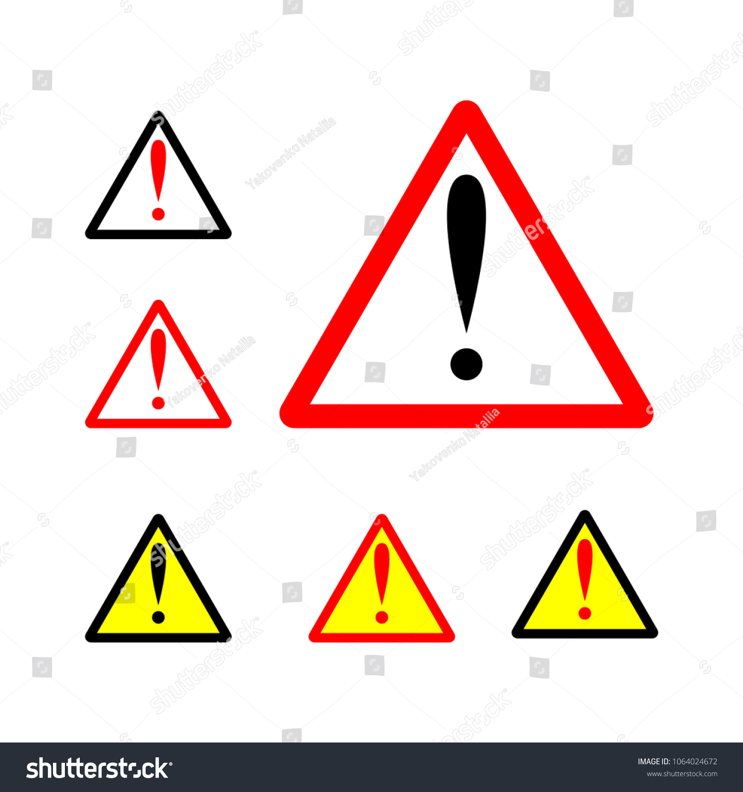 Warning Sign Set Illustration Exclamation Triangle Stock Vector