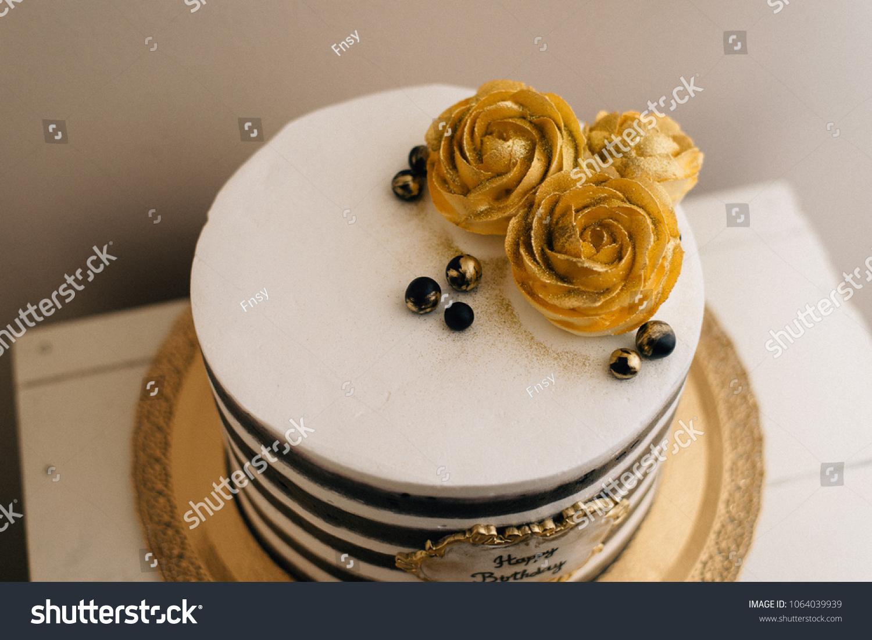Vintage Birthday Cake Golden Roses Black Stock Photo Edit Now