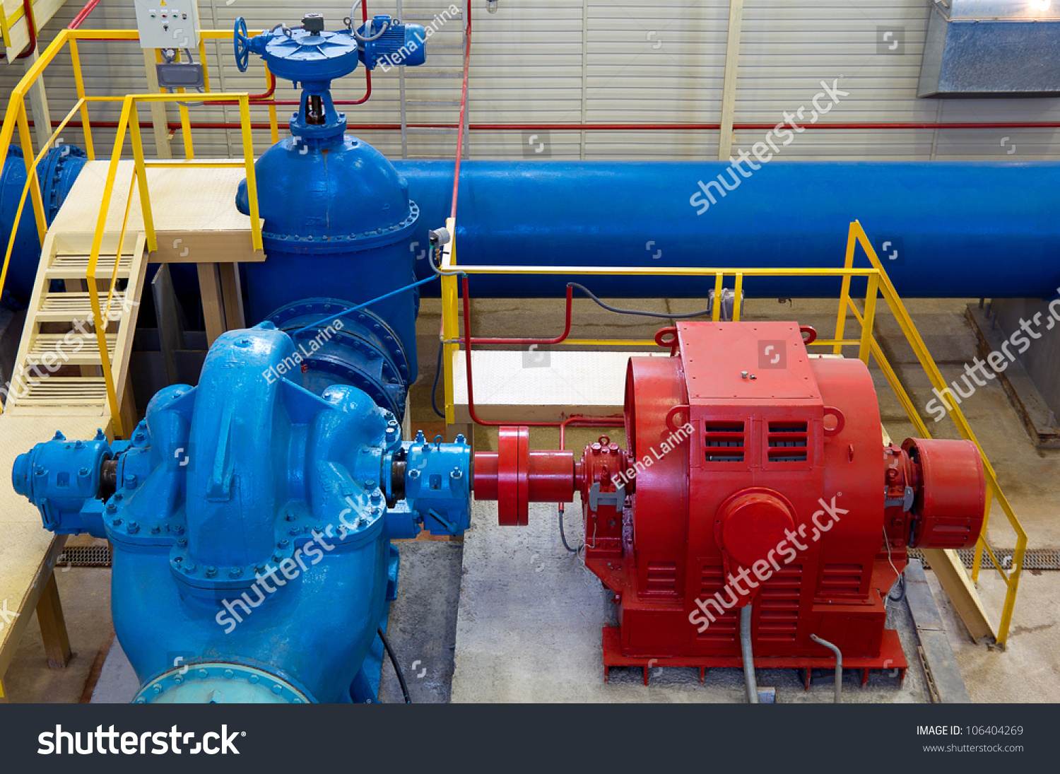 Water Pumping Station Industrial Interior And Pipes Stock