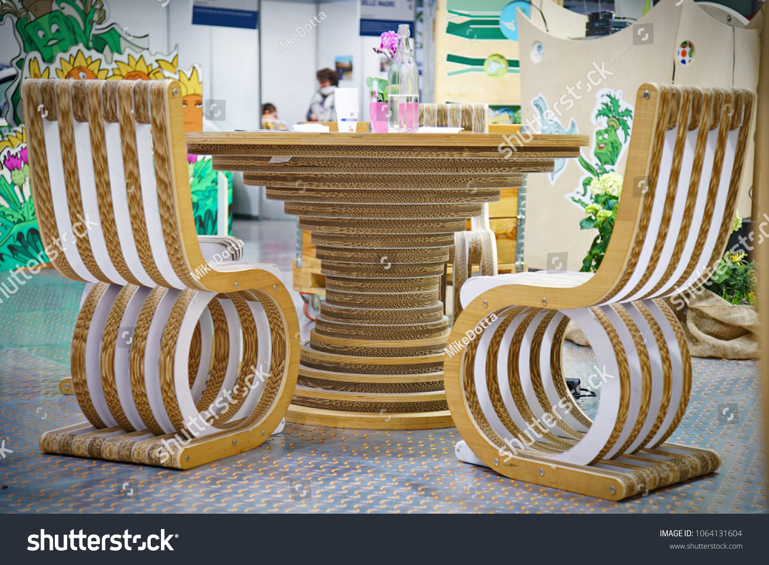 Eco friendly creative office table and chairs made from recycled cardboard crafts and ecology