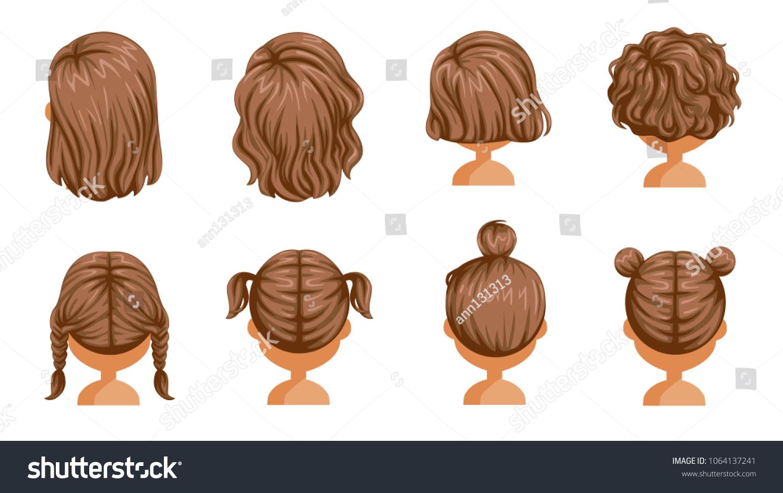 Little Girl Hair Rear View Set Stock Vector (Royalty Free) 1064137241