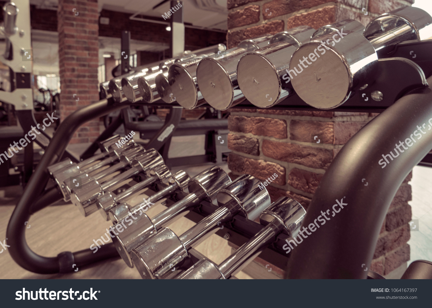 Rows of metal dumbbells on rack in the gym or sport club. Weight Training Equipment Vintage Brown Color Toned Image.