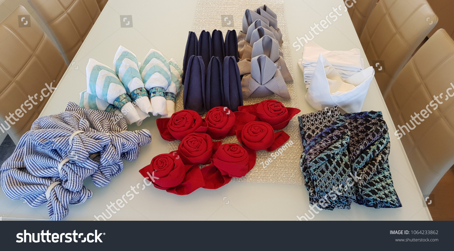 Different Colorful Origami Napkin Folds Table Stock Photo Edit Now