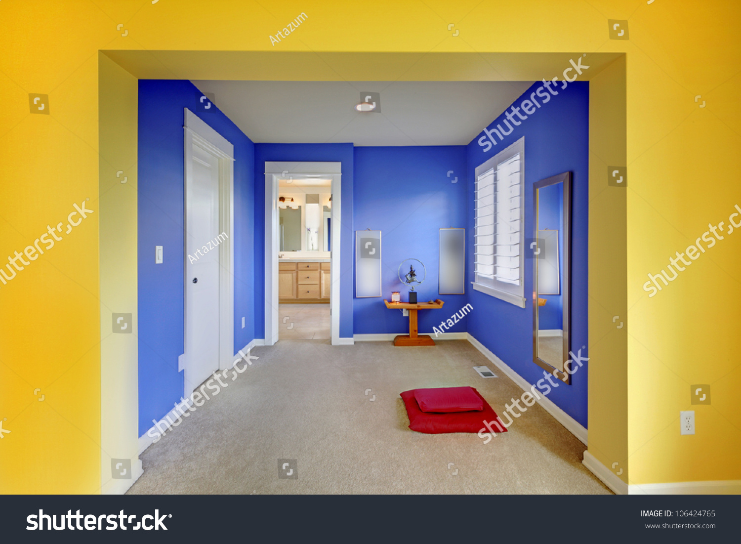 blue and yellow home meditation area between bathroom and bedroom stock photo 106424765. Black Bedroom Furniture Sets. Home Design Ideas