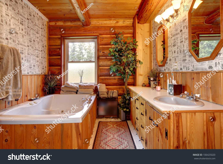 Cabin Bathroom Wood Cabin Bathroom Tub Wallpaper Stock Photo 106425020 Shutterstock