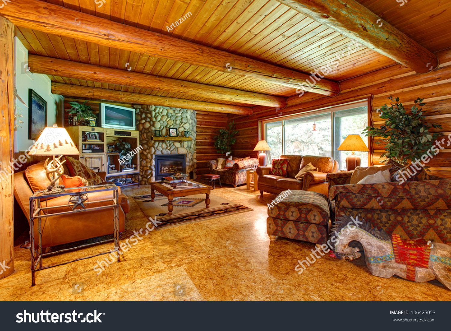 log cabin living room interior with wood ceiling - Log Cabin Living Room