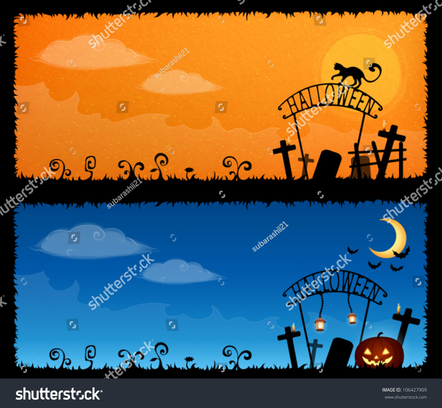 cute halloween theme banners with a spooky graveyard stock vector cute halloween theme banners with a spooky graveyard stock vector - Windows 7 Halloween Theme